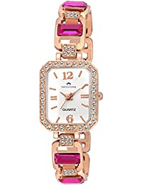Swisstone GEM91W-DRK-PNK White Dial Pink Stone Bracelet Wrist Watch For Women/Girls
