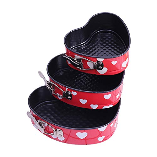 TOPofly Herz-Kuchen-Springform 3Pcs Carbon Steel DIY Kuchenform-Form mit Federriegeln Non Stick Backen Kuchen Fach