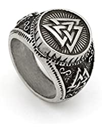d7080dc327 LoveInDec Men Valknut Norse Viking Odin Symbol Scandinavian Vikings Valknut  Warrior's Ring Size 10