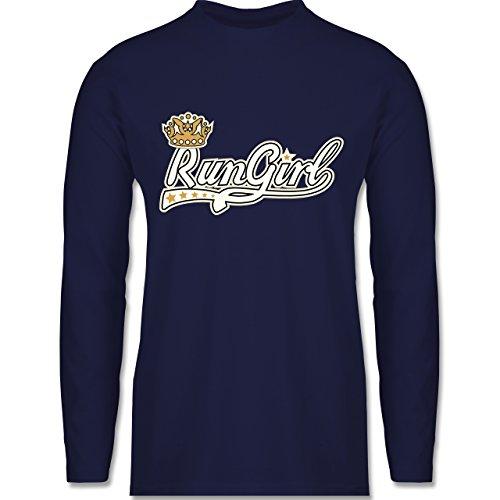 Laufsport - Run Girl Krone - Longsleeve / langärmeliges T-Shirt für Herren Navy Blau