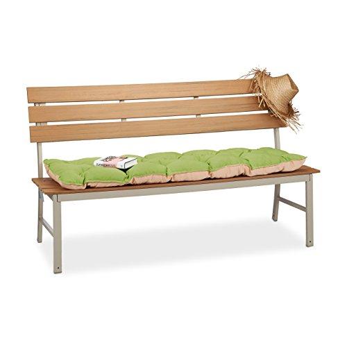 Relaxdays Bankauflage Garten, Sitzauflage Dreisitzer zum Binden, Bankpolster gesteppt Auflage für 3er Bank, Grün, 84x74x19 cm