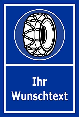 Melis Folienwerkstatt Schild Schneeketten - Wunschtext - 45x30cm - Bohrlöcher - 3mm Hartschaum - 20 VAR S00018-112-E