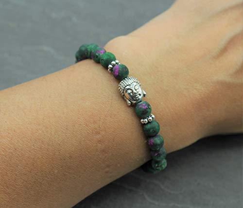 Buddha Armband Glücksbringer Zen Buddhismus Rubin Zoisit Edelstein Perlen Band Perlenarmband Silber Grün Rot Handmade Schmuck Geschenk