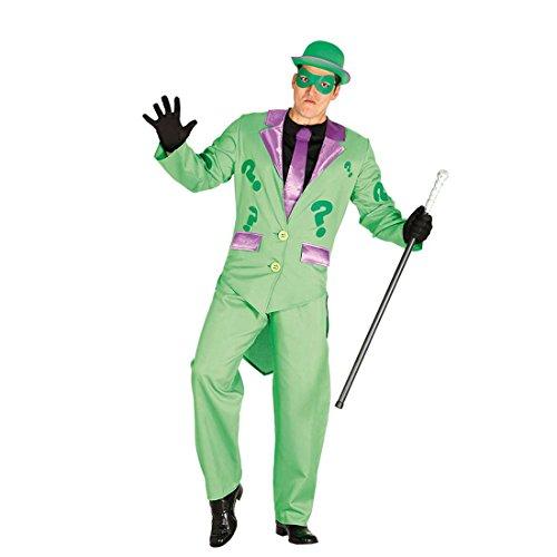 Kostüm Jacke Riddler - Faschingskostüm Fragezeichen Riddler Kostüm Männer M 48/50 Bösewicht Filmkostüm Erwachsene Karnevalskostüm Inkognito Batman Mottoparty Film St Patricks Day Herrenkostüm