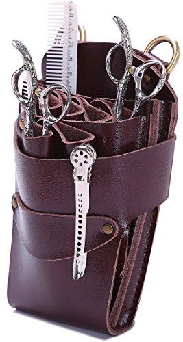 Pochette à ciseaux pour coiffeur avec ceinture, Etui sac à ciseaux pour salon de coiffure, Organisateur de ciseaux pour coiffeur, Cuir véritable - Marron.