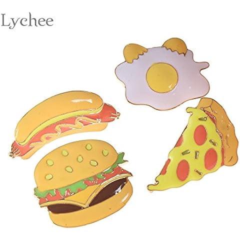 Nuovo Pin di metallo sul distintivo arcobaleno Hamburger Tai Chi pizza Rossetto design Badge Camicia Collare Pin Spilla Abito cucito Accessori 3