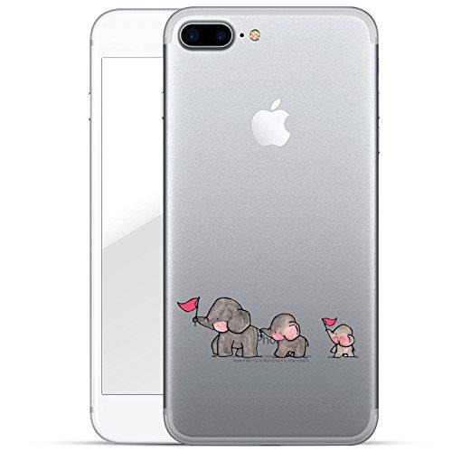 finoo | iPhone 8 Plus Handy-Tasche Schutzhülle | ultra leichte transparente Handyhülle in harter Ausführung | kratzfeste stylische Hard Schale mit Motiv Cover Case | Elefanten Marsch Elefanten Marsch
