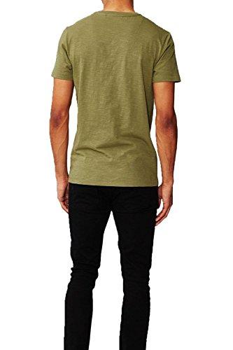 Herren Threadbare Großvater Kragen Oliver T-shirt Halsausschnitt Einfarbig T -shirt Top Khaki ...