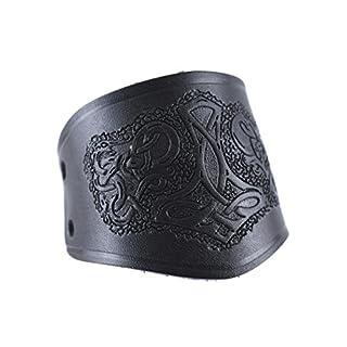 Battle-Merchant Armschützer aus Leder, mit Thorshammer, kurz - Armband Armstulpe Wikinger LARP Mittelalter Farbe schwarz