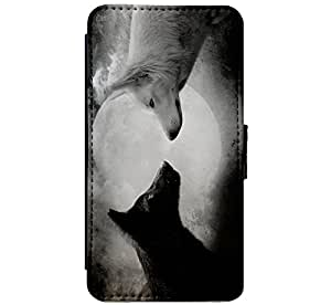 Classic Black and White Wolf Design Art Leather Flip: Amazon