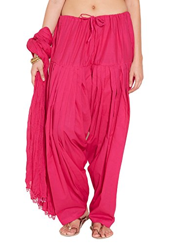 Stylenmart Ladies Dark Pink Cotton Regular Fit With Dupatta Dupatta Patiala Set