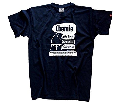 Chemie gibt Brot - Wohlstand - Schoenheit - ddr retro T-Shirt Navy XXXL