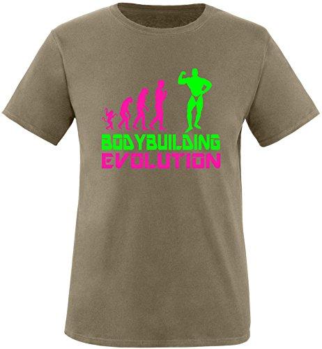 EZYshirt® Bodybuilding Evolution Herren Rundhals T-Shirt Olive/Pink/Neongr