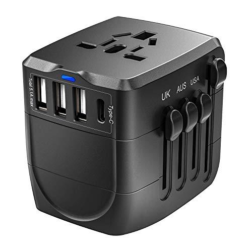 Reiseadapter, 2400W International Power Adapter, Universaladapter mit 4 USB-Ports, Perfekt für UK, EU, AU, US, über 150 Länder (Schwarz) (Schwarz.)