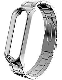 ibasenice Correa de Reloj de Acero Inoxidable Correa de Reloj de Metal Correa de Reloj de Repuesto para Reloj Inteligente Pulsera Compatible para Xiaomi 3