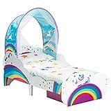 Kleinkinderbett im Einhorn- und Regenbogen-Design mit Betthimmel und Stauraum