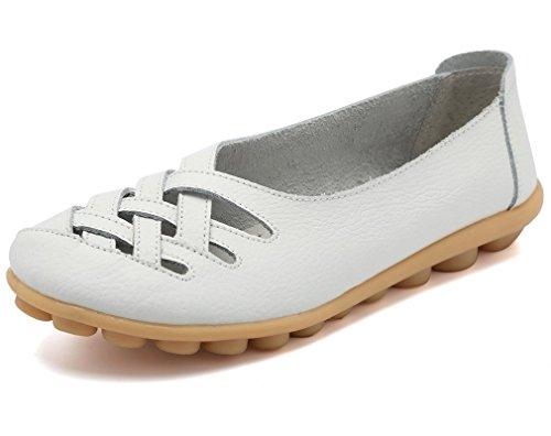 lovejin Damen Bootsschuhe Barfußschuh Weichen Leder Flache Schuhe Bequeme Fahr Schuhe Hohlen Freizeit Flache Schuhe