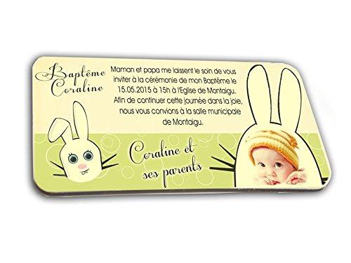 CARTE D'INVITATION en chocolat thème LAPIN personnalisée avec votre photo et votre texte - pour baptême mariage communion - invitation en chocolat design et moderne vert anis et blanc