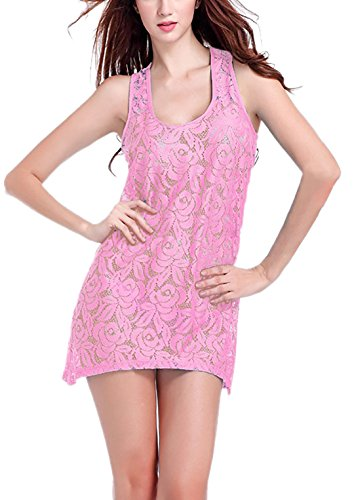 YOGLY Strandkleid Lace Rundhals Ärmellos Beachwear Knielang Sommerkleider Maxi Bikini Cover Up Pink