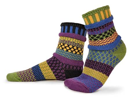 Solmate Socks - Odd or Mismatched Crew Socks for Women or for Men, Made with Recycled Cotton Yarns in USA, October Morning Medium