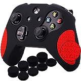 YoRHa Espesado Caucho de Silicona Funda Skin Case Carcasas Piel Agarre de Masaje con letras 3D para Xbox One S / X Mando Controller x 1 (Negro&Rojo) Con Agarres para el Pulgar x 8