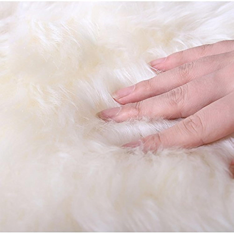 QINGLOU Peau de Mouton synth/étique,Cozy Sensation comme v/éritable Laine Tapis en Fourrure synth/étique Blanc, 50 x 80 cm Fluffy Soft Longhair D/écoratif Coussin de Chaise Canap/é Natte
