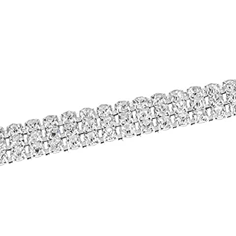 1M Silver Rhinestone Trim Chain with Clear Diamante Crystals Studs - Style SS8 - 4 Rows (10mm Wide) by Trimming Shop