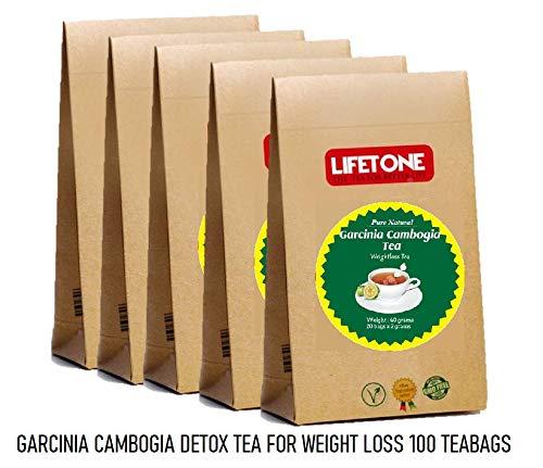 Detox Tee zur Gewichtsreduktion   Tee zum Abnehmen   Diet Fat Loss Cleanse Drink   100 Teebeutel   Garcinia Cambogia Tee   Packung mit 5 Stück