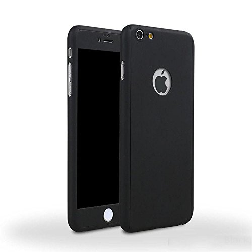 iPhone 5/5s/SE 360 Degres + Protection en Verre Trempé, [ 360 ° ] Coque de protection avant et arrière cases iPhone 5/5s/SE Integrale pour iPhone 5/5s/SE - Noir Noir