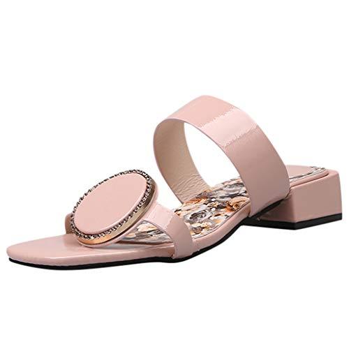 ✿✿Eaylis Damen Sandalen Quadratischer Blumendruck Der Sommerhausschuhe