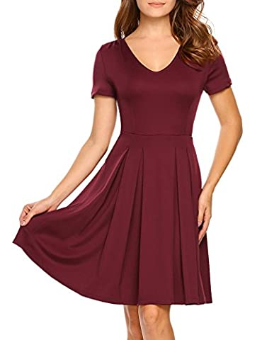 HOTOUCH Women Sexy Casual V Neck Short Sleeve Pleated Evening Cocktail Party Skater Mini Dress(Wine Red