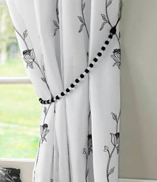 White Curtains black and white curtains : White / Black Eyelet Curtains - Embroidered Lined Voile - Tahiti ...