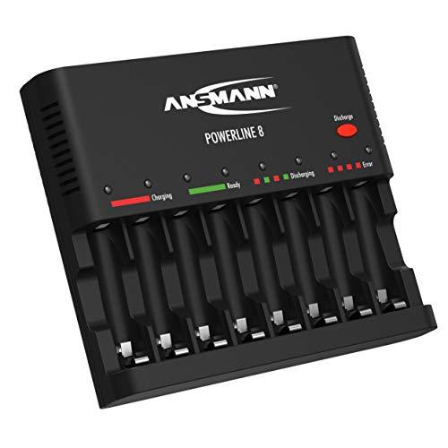 ANSMANN Akku-Ladegerät zum Laden & Entladen von 8x AA/AAA NiMH Akkus - 8-fach Batterieladegerät mit Einzelschachtüberwachung, automatische Abschaltung, Erhaltungsladung & USB Lader | Powerline 8