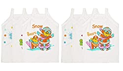 Littly Baby Girls Printed Cotton Camisole Slips/Vests, Pack of 6 (White)