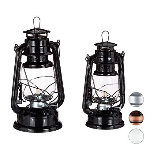 Relaxdays Petroleumlampe 2er Set, echte Öllampe als Fensterdeko oder Gartenlaterne, mit Henkel, 24 und 28 cm, schwarz