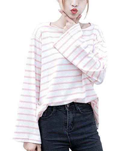 Brinny femme fille T-shirt rayée classique chemise rayée à manches longues blouse Rose