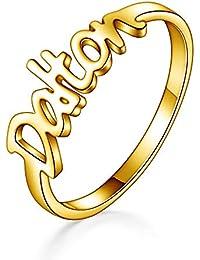 19278e3a2ca2 Godmoy Anillo Nombre Personalizado en Oro 18k   Plata de Ley 925   Oro Rosa