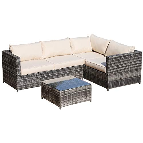 41D02AS1%2B3L. SS500  - Outsunny Rattan Garden Furniture 4 Seater Outdoor Patio Corner Sofa Chair Set with Coffee Table Thick Cushions Grey