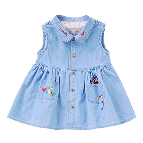YWLINK MäDchen Karikatur Stickerei Puppenkragen ÄRmellos Sommer Kleiden Mit Tasche Denim Kleid(Blau,90)
