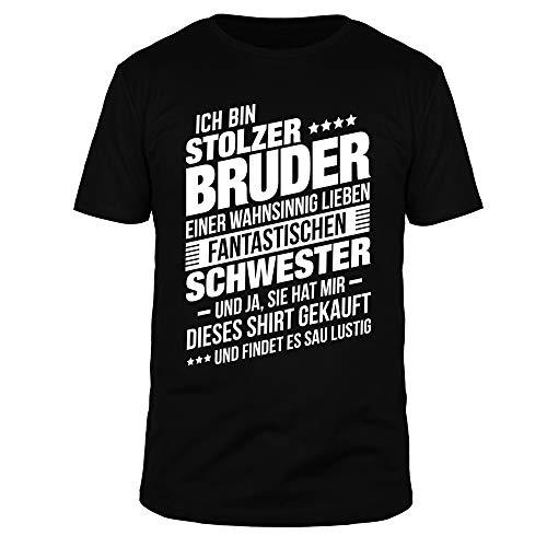 FABTEE - Ich bin stolzer Bruder Einer fantastischen Schwester - Herren T-Shirt Baumwolle Größen S-3XL, Größe:M, Farbe:Schwarz