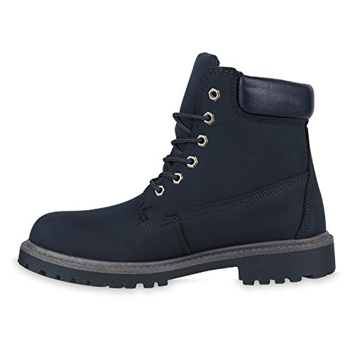 UNISEX Gefüttert Damen Herren Worker Boots Outdoor Schuhe Profil Sohle Dunkelblau
