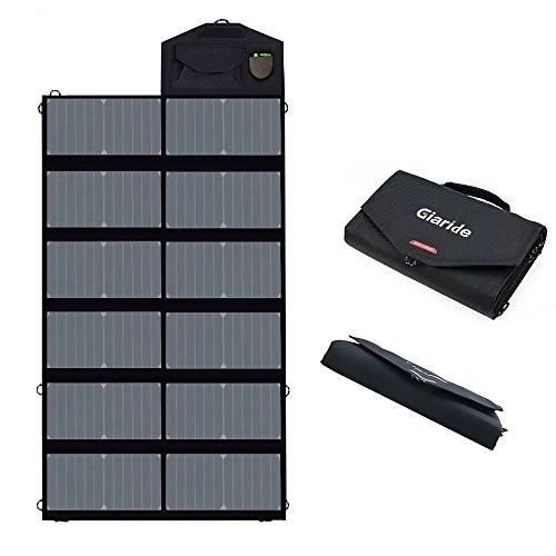 GIARIDE 12V 18V 80W Caricabatterie Solare Portatile Sunpower Pannello 2 Porte 5V USB 18V Uscita DC Pieghevole Per Batteria dell'Automobile 12V Batteria per Auto, Tablet, iPhone, Galaxy, iPad