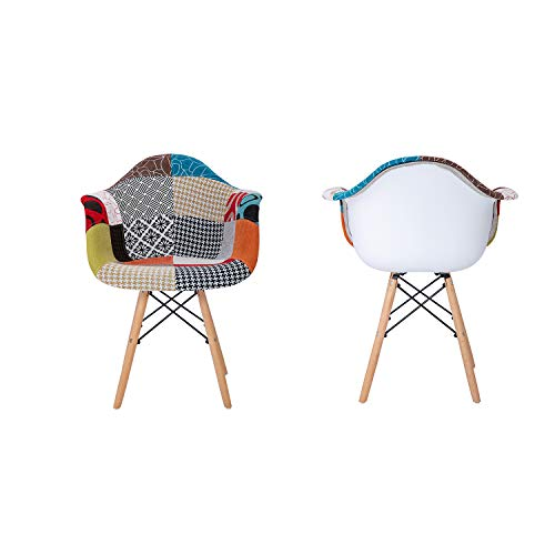 EGOONM Set of 2 Dining Chair, Retro Design with Side,Chair with Solid Beech Wood Leg -Part Patchwork