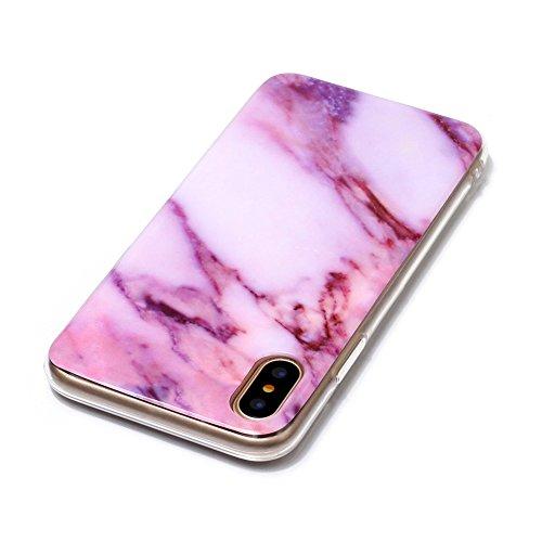 Slynmax Marble Style TPU Cover per iPhone X Custodia Silicone Caso Molle di Morbida Sottile TPU+IMD Gel Transparent Bumper Case Protettiva Caso Chiaro Copertura Slim Thin Skin Shell Protezione per iPh Modello #4