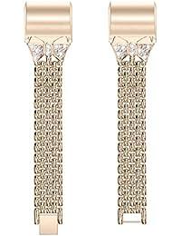 NICERIO Compatible con Fitbit Charge 2 Correa de Reloj de Metal Correa de Reloj con Incrustaciones de Diamantes Correa de Reloj Pulsera de Repuesto con Diamantes de imitación (Color Retro)