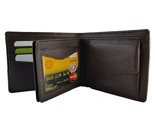 Ammvi Creations 3D Pattern Genuine Leather Brown Wallet for Men