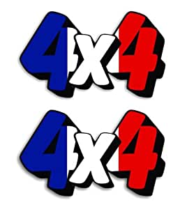 2 of 4X4 French - France Flag 4WD Voiture Autocollant / Car Stickers - 11cm x 6.5cm