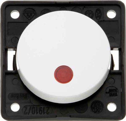 Hager INTEGRO Taster mit Pilot Objektiv Rot + Lampe Neon Weiß Polar (Pilot Lampe Rot)