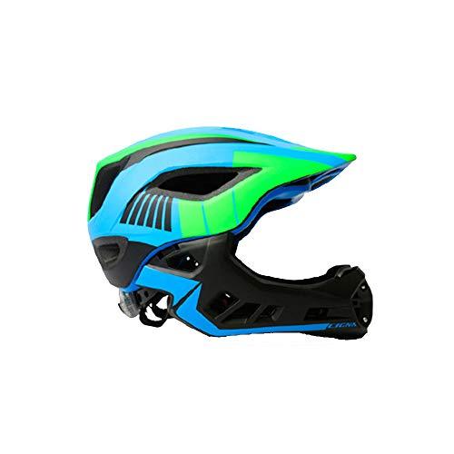 WULAU Kinder-Scooter-Fahrradhelm, Cycling Mountain & Road Fahrradhelm Verstellbarer Sicherheitsschutz und atmungsaktiv-Schwarz grün blau