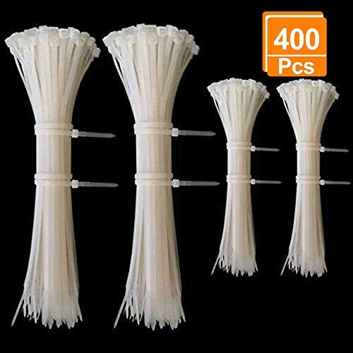 Kabelbinder Set Weiss, Profi Kabelbinderset Weiß 100 mm / 200 mm, Cable Ties für PC, Fahrrad, Industrie ( 400 Stück ) Mini Mens Tie